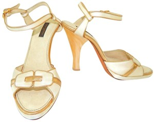 Louis Vuitton Ankle Strap Satin Limited Edition Resin Suede Cream Sandals