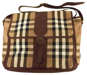 Burberry Leather Canvas Salford Burberry Check Messenger Bag