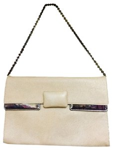 BCBGMAXAZRIA Cream And Silver Clutch