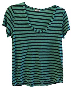 Splendid Stripe Scoop Neck Loose Cotton T Shirt