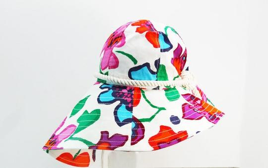 Kate Spade Kate Spade New York Viva Colores Mexican Floral Printed Sun Hat Clotted Cream