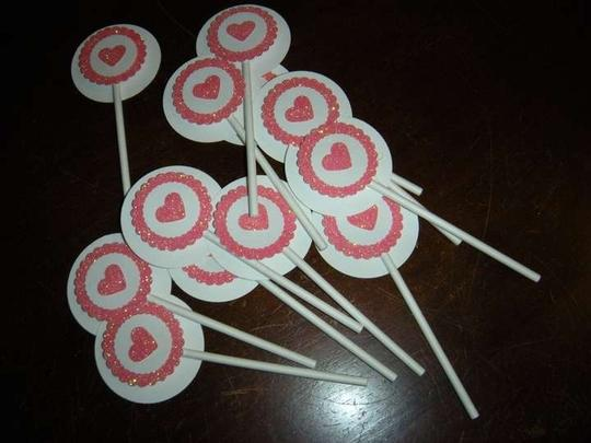Cupcake Toppers 1 Dozen Pink And White