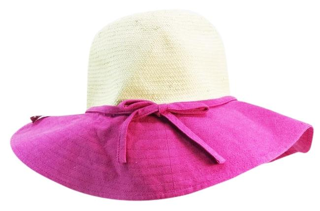 Item - Pink Straw and Linen Sun New Hat