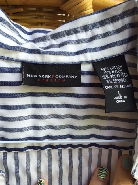 New York & Company Button Down Shirt Blue and white Image 1