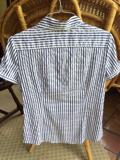 New York & Company Button Down Shirt Blue and white