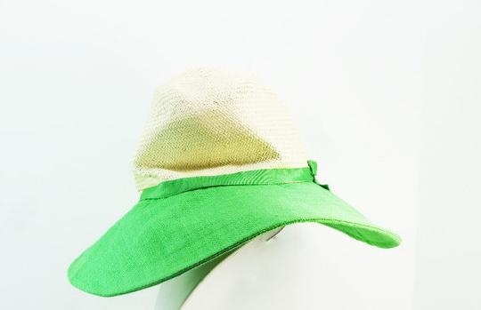 Kate Spade Kate Spade Straw and Linen Sun Hat Green NEW
