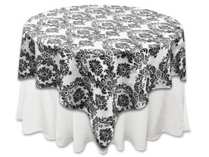 Tablecloths Factory White and Black Flocking Overlays Reception Decoration
