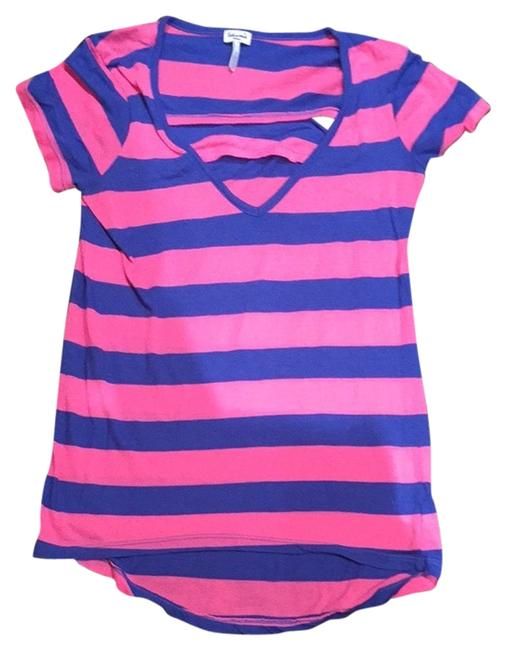 Splendid Open Back Cotton V-neck T Shirt Stripe Neon Pink And Blue