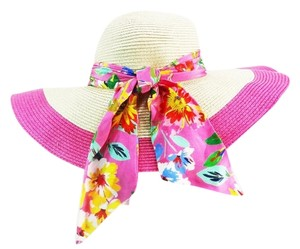 Kate Spade Kate Spade New York Straw Sun Hat Pink Lining and Floral Ribbon Accent NEW