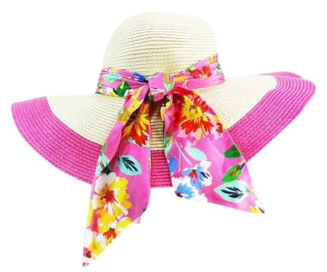 Item - Pink New York Straw Sun Lining and Floral Ribbon Accent New Hat