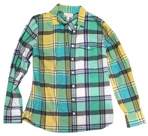 25f680a9f J.Crew Button Down Shirt Multi Plaid Blue Yellow Green Aqua White