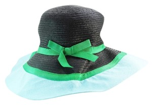 Kate Spade Kate Spade New York Straw Sun Hat Mixed Up Black Green Powder Blue Ribbon NEW