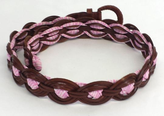 Missoni Brown & Pink Woven Leather Belt