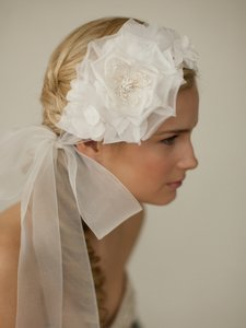 Mariell Handmade Ivory Silk Flower Bridal Headband With Wide Sheer Ribbon 4107hb-i