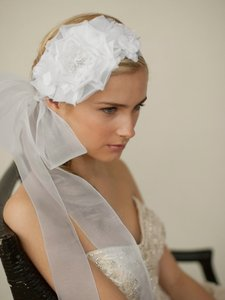 Mariell Handmade White Silk Flower Bridal Headband With Wide Sheer Ribbon 4107hb-w