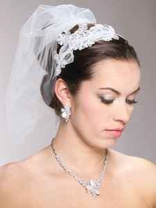 Mariell Vintage Ivory Lace Headband With Pearls & Sequins 3909hb-i