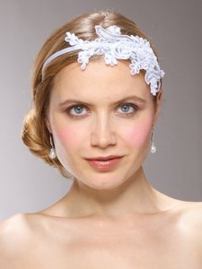 Mariell Vintage White Lace Headband With Pearls & Sequins 3909hb-w