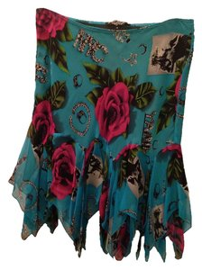 Betsey Johnson Wild Funky Fun Short Floral Bling Vintage Rocker Nyc Graphic Different Mini Skirt Blue, Pink, Multicolored