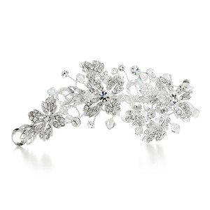 Mariell Crystal Spray Bridal Hair Clip With Faceted Teardrops 3576hc
