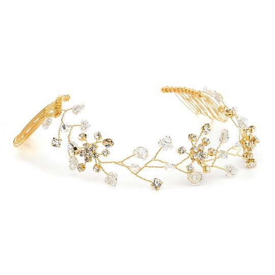 Mariell Swarovski Crystal Bridal Tiara Vine In Gold 1402h-cr-g