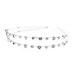 Mariell Crystal 2-row Prom Or Headband with Round 4216hb Hair Accessory