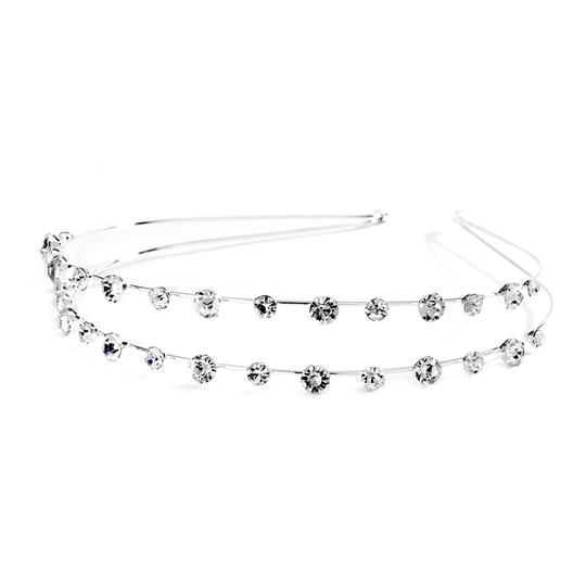 Mariell 2-row Prom Or Wedding Headband With Round Crystals 4216hb