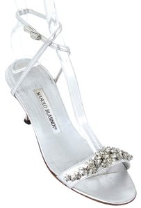Manolo Blahnik Crystal Embellished Silver, Metallic Silver Sandals