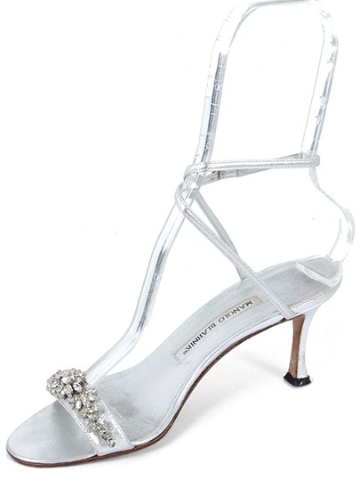 Manolo Blahnik Crystal Embellished Strappy Party Leather Silver, Metallic Silver Sandals