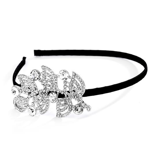 Mariell Black/Silver Satin Prom Or Headband with Rhinestone Side Accent 4221hb Hair Accessory