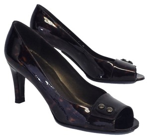 Stuart Weitzman Print Patent Leather Peep Toe Pumps