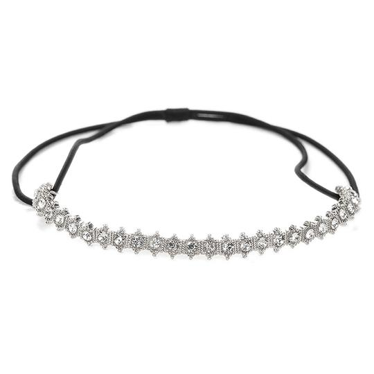 Mariell Silver Vintage Crystal Stretch Headband For and Proms 4354hb-s Hair Accessory