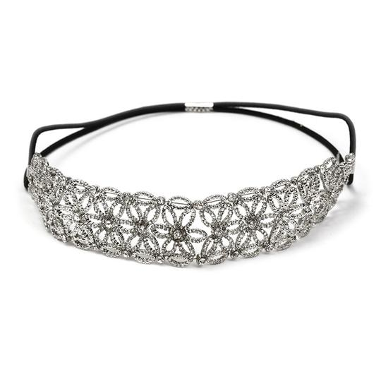 Mariell Silver Antique Floral Prom Stretch Headband with Inlaid Crystals 4356hb-s Hair Accessory