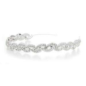Mariell Lustrous Silver Wedding Headband With Crystal Braid 3572hb