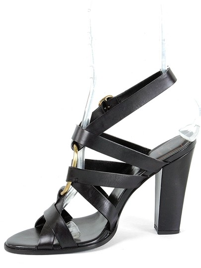Roger Vivier Strappy Cut-out Party Leather Gold Hardware Black Sandals