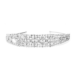Mariell Silver Shimmering Rhinestone Bold Headband For Or Proms 4232hb Hair Accessory