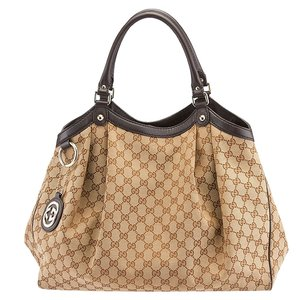 Gucci Sukey Large Gg Canvas Tote in Beige & Brown