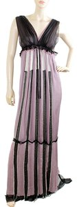Lavender, White, Black Maxi Dress by Alberta Ferretti Two-tone Chiffon Striped Bold Stripe V-neck Empire Waist Frayed Party Wedding Evening
