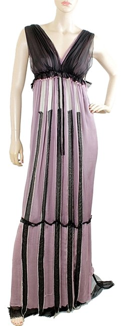 Alberta Ferretti Lavender White Black And Striped Two Tone