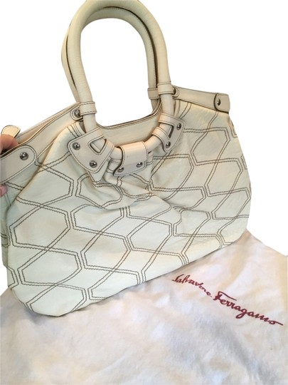 Preload https://item1.tradesy.com/images/salvatore-ferragamo-honeycomb-pattern-cream-with-brown-stitching-leather-satchel-3676420-0-0.jpg?width=440&height=440
