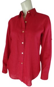 Ralph Lauren Petites Medium Pm Linen Roll Up Sleeves 4th Of July Button Down Shirt Red