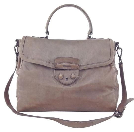 Prada Leather Logo Satchel in Taupe