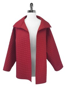 Zoran Silk Quilted Open Red Jacket