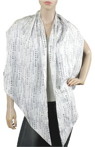 Thomas Wylde Thomas Wylde Accessories - White And Black Satin Silk Carpe Diem Print Wrap Scarf