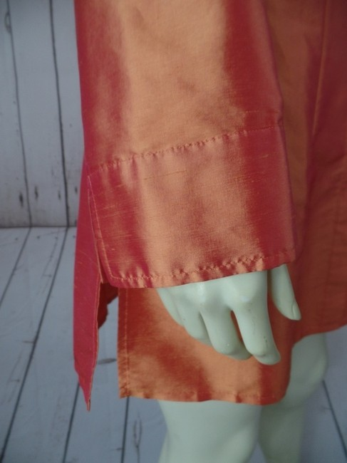 Chico's Silk Sheath Floral Tunic Long Long Sleeve Button Front Size 1 Top Iridescent Orange