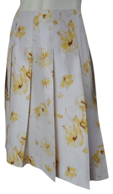 Banana Republic Silk Slub Pleated Summer Side Zip Below Knee Size 0 Lined Skirt Beige Yellow Brown Floral