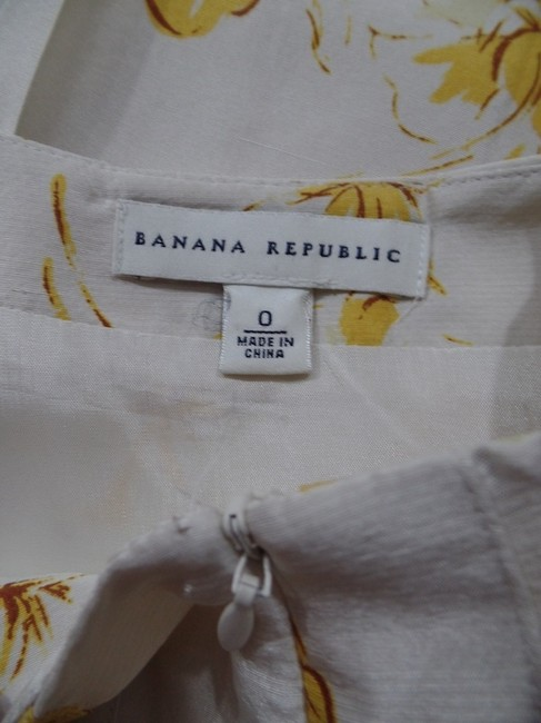 Banana Republic Silk Slub Pleated Summer Side Zip Below Knee Size 0 Lined Skirt Beige Yellow Brown Floral Image 5