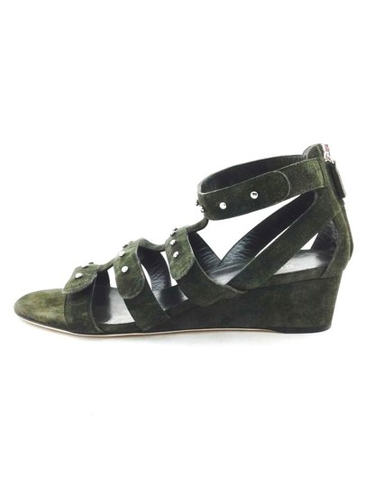 Gucci Studded Strappy Suede Green Wedges