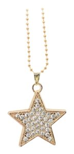 Other Gold Rhinestone Star Pendant Chain Statement Necklace