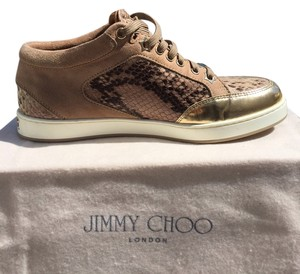 Jimmy Choo Snake Print Gold Miami Collection Tan Seude Snakeskin Tan Athletic