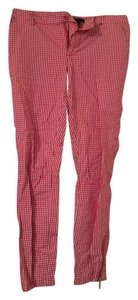 Forever 21 Zipper Ankle Skinny Skinny Pants Red And White